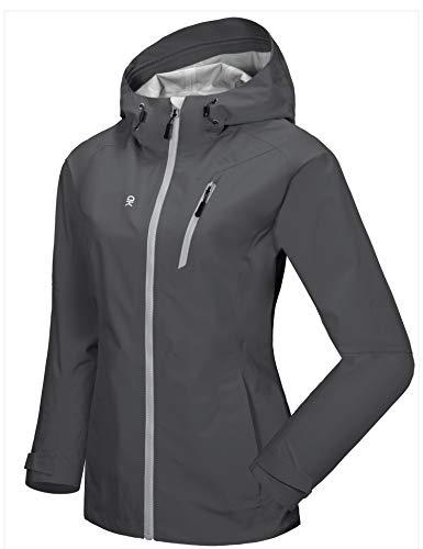 Little Donkey Andy Women's High-performance Waterproof Rain Jacket Lightweight Outdoor Windbreaker Rain Coat Shell for Hiking Grey XL