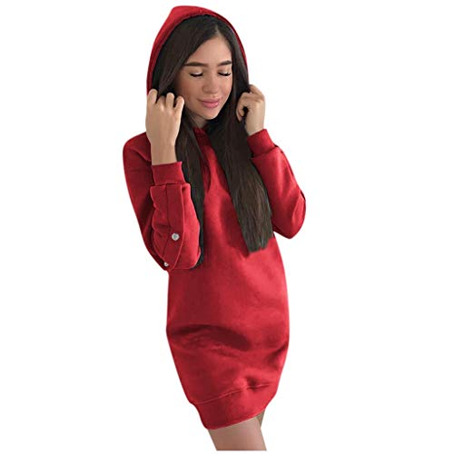 Forthery-Women Hoodie Long Tunic Dress Solid Pullover Loose Sweater Hoodie Sweatshirt Long Tops Red Dress(Red,XXL)