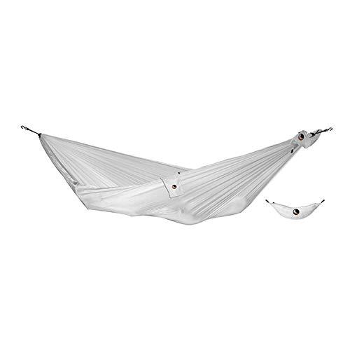 Ticket to the Moon Fair Trade & Handmade Single/Compact- Lightweight-Hammock White for Travelling, Camping, Everyday, L 3.2 * 1.55m, 480g, Parachute Silk Nylon, Set-Up  1 min, OEKO-TEX 10Y. WNTY