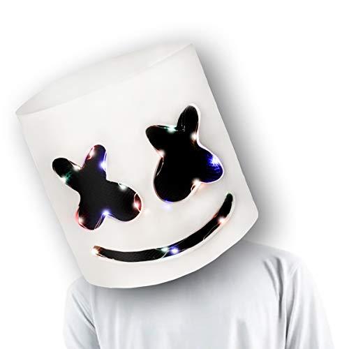 ZEULYCHAPMAN Halloween Costume Kids DJ Helmet Music Festival LED Mask Disco Lights Headgear Carnival Cosplay Light Up Mask Prop Latex Full Head Hat Rave Party White for Men (White, One Size)