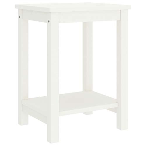 Wakects Mesita de noche blanca de 35 x 30 x 47 cm con 1 estante de madera maciza de pino maciza. Cómoda moderna para el sofá