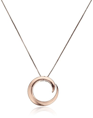 """Sterling Silver with Rose Gold Flashed """"A Journey Is Best Measured By Friends Not Miles"""" Circle Pendant Necklace, 18"""""""