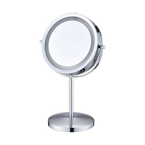 HILFA LED Lighted Makeup Mirror, 7 Inch Double Sided Mirror with 1X/10X -