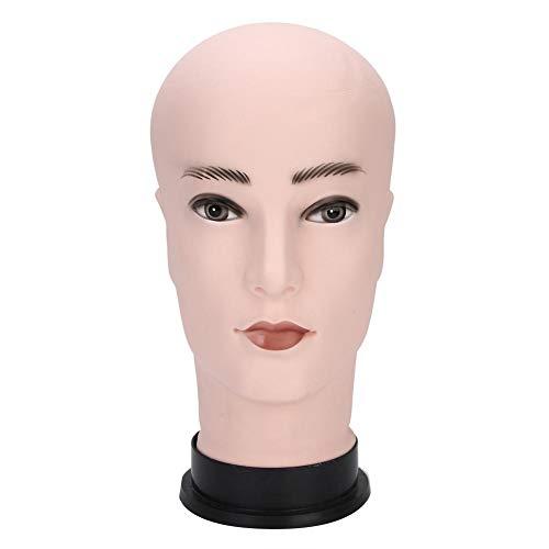 Mannequin Kopf, Männliche Schaufensterpuppe Kopf Modell PVC Hut Perücke Brille Anzeige Kopfstand Kosmetologie Glatze Puppe