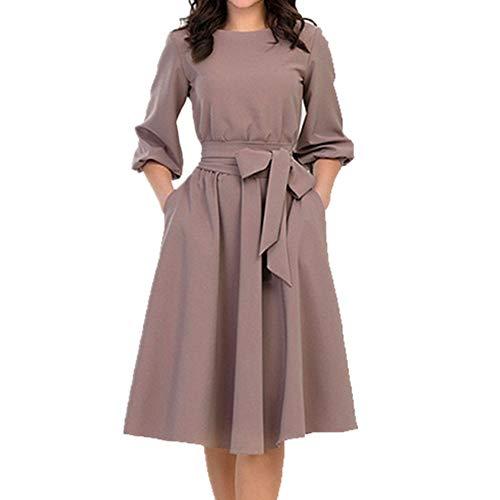 Vestido de manga larga para mujer, cuello redondo, elegante, liso, con cordones, línea A.