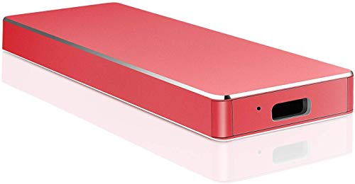 Disco duro externo de 2 TB, disco duro externo portátil, disco duro externo compatible con PC, ordenador portátil y Mac (2TB, rojo)