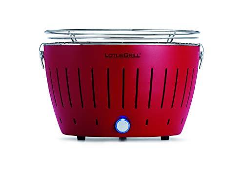 LotusGrill (Rojo fuego) libre de humo Parrilla de carbón/Grill de mesa en diferentes alegres Colores Garantizado siempre la última tecnología incl. Magic Cover ø 24 cm