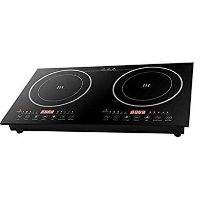 Double Induction Cooktop Cooker 2600W Digital Electric Countertop Burner Dual Hot Plate Heater Cooking Burner Stove, Touch Sensor Control, 8 Gear Firepower, Can Be Recessed In Countertop (1200W Induction Cooker + 1400W Ceramic Cooker)