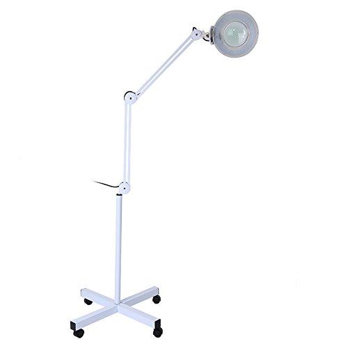 Kaltlicht, LED-Standleuchte, verstellbar, LED-Lampe, professionelle Ästhetik, mit 8 Dioptrien, Lupe und Rollen, für Kosmetiker, Labor und Lesen (EU)