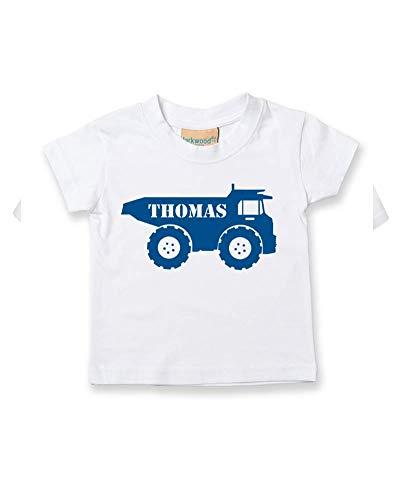 Ice-Tees T-shirt personnalisable pour bébé/enfant Motif Big Digger Truck - Blanc - 2-3 ans