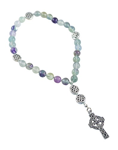 Kit Johnson Designs Anglican Rosary Beads, Fluorite, Celtic Cross, Prayer Bag, Instruction Booklet