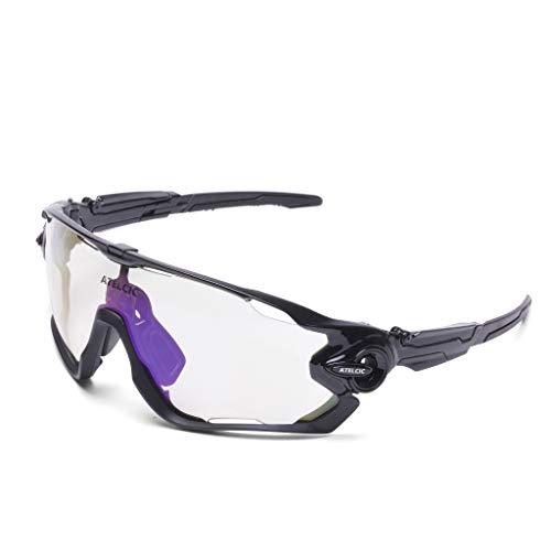 Gafas de Sol Deportivas para Ciclismo, Protección UV400 y Montura De TR-90, Resistentes a Golpes Antivaho para Hombre Mujer MTB Bicicleta Correr Montaña y Carretera (Negra (Lente Transparente))