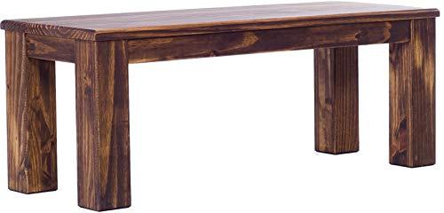 Brasilmöbel Sitzbank 120 cm Rio Classico Eiche antik Pinie Massivholz Esszimmerbank Küchenbank Holzbank - Größe und Farbe wählbar