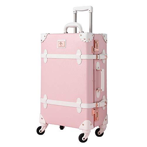"""可愛い スーツケース クラシック トランク トランクケース ピンク 機内持込 キャリーケース かわいい 子供 女の子 (プリンセス, 20"""")"""