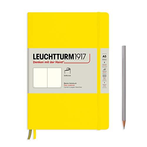 LEUCHTTURM1917 362857 Notizbuch Medium (A5), Softcover, 123 nummerierte Seiten, Zitrone, Blanko