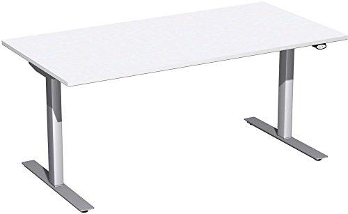 Elektrisch höhenverstellbarer Schreibtisch, 1600x800x680-1160, Weiß/Silber, Geramöbel