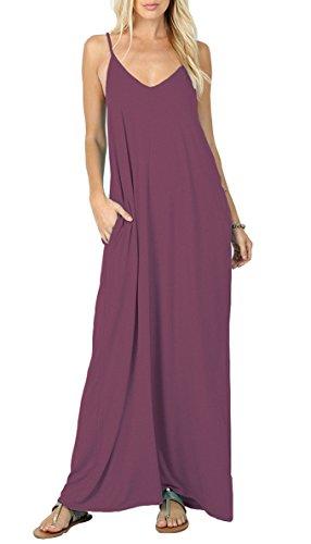 Iandroiy Women's Sleeveless Top T-Shirt Swing Summer Sling Maxi Dress (Mauve S)
