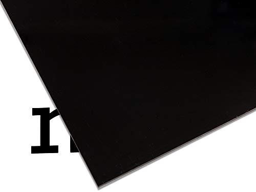 PLEXIGLAS® GS farbig, vielfältig nutzbares und bruchfestes Marken Acrylglas für Lichtobjekte etc, 3 mm dicke PLEXIGLAS® GS Platte in 12 x 25 cm, schwarz opak (9H01)