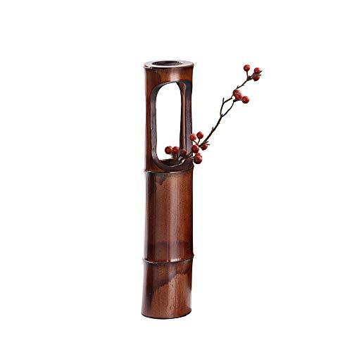 UPANV Florero De Bambú Natural De 16 Pulgadas, Florero Rústico, Estilo Minimalista Elegante Lamentable del Bloque