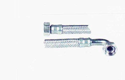 """Flexschlauch,Panzerschlauch,Verbindungsschlauch DN19 3/4"""" ÜWM x 3/4"""" ÜWM mit 90° Bogen x 300mm Länge, Umflechtung Edelstahl, Trinkwasser,- und Heizungsbereich geeignet"""