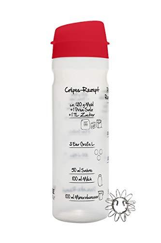 875ml-Pfannkuchen-Shaker (ROT) mit Rezeptaufdruck für Pancakes, Crêpes, Pfannkuchen und Flädle