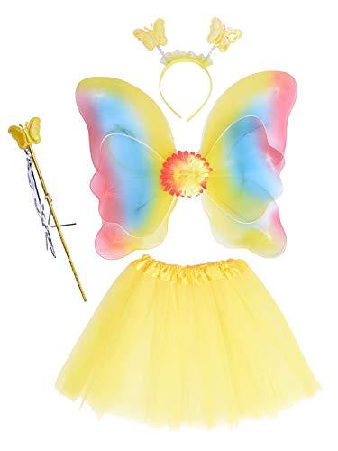 EZSTAX 4 szt. LED motyl skrzydło kostium dziecięcy fantazyjny sukienka, żółty 2 #