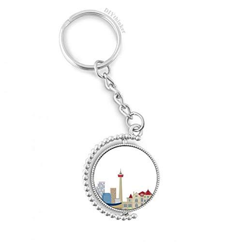 DIYthinker Mannen Canada Landmark en Stad TV Toren Draaibare Sleutelhanger Ring Sleutelhouder 1,2 inch x 3,5 inch Multi kleuren