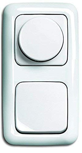 LED Dimmer Komplett-Set BUSCH JÄGER, LED-Drehdimmer -alpinweiß- -Reflex SI- neues Modell 6523-U 102 (6523 U-102) in 2 fach Rahmen integriert inkl. Wippschalter inkl. Wippe