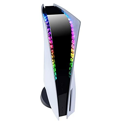 eXtremeRate PlayVital RGB LED Tira de Luces con Control Remoto para PS5 Consola Tira de Luz 7 Colores 29 Efectos Tira LED Luces con Remoto IR DIY Accesorios para Playstation 5 Consola