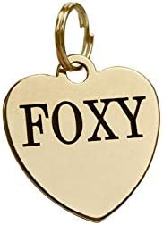 Banjara Hills Silver Stainless Steel Personalized Metal Tag for Pet Dog and Cat (Heart Shape Brass)