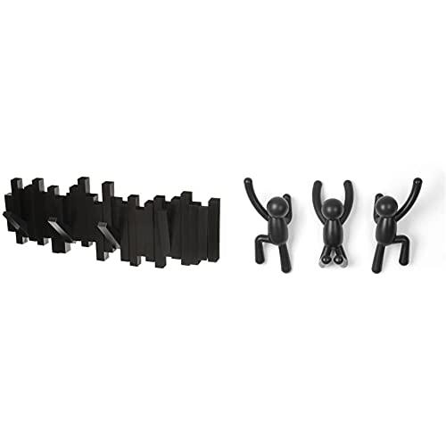 Umbra - Appendiabiti da parete con ganci, colore: Nero & 318165-040 Buddy Appendiabiti, Plastica, Nero,Set of 3