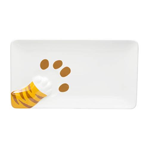 サンアート かわいい食器 「 横から猫 」 とらねこ魚プレート(足跡付) 長皿 幅25.7cm 白 SAN2842-2