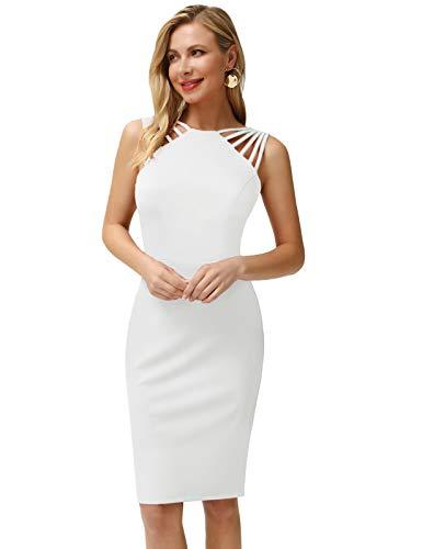 Ropa de Mujer Nuta Back Vestido Sexy Vestido Corto de Noche Vestidos Delgados para Fiesta Blanco S CLA02644-4