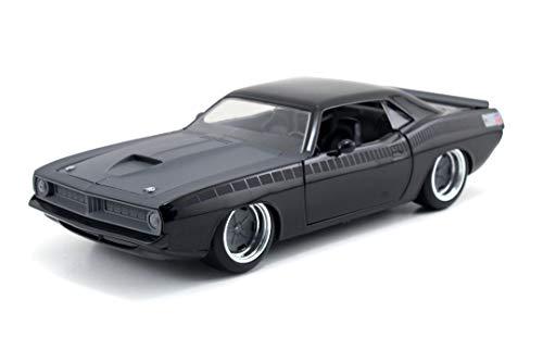 Jada ToysFast & Furious Letty's 1970 Plymouth Barracuda, Auto, Spielzeugauto aus Die-cast, öffnende Türen, Kofferraum & Motorhaube, Maßstab 1:24, schwarz