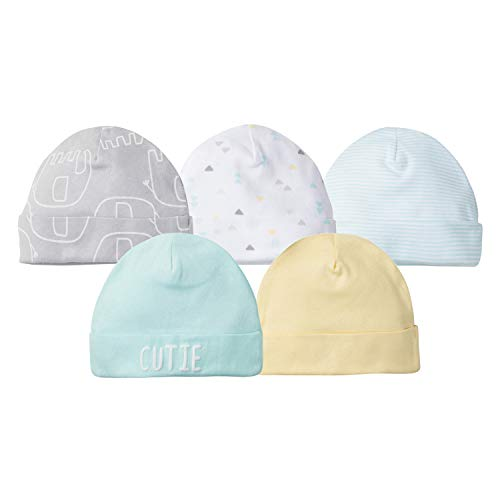 Gerber Baby 5-Pack Caps, Elephant Dream, Newborn