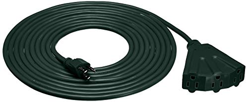 Amazon Basics 16/3 Vinyl Outdoor Extension Cord with 3 Outlets - Green, 20 Foot
