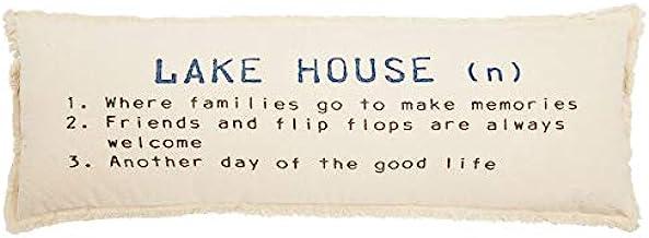 "Mud Pie Lake House Definition Pillow, 12"" x 36"", WHITE"