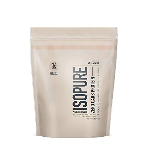 Isopure Zero Carb Unflavored 25g Protein 100% Whey Protein Isolate Keto Friendly Protein Powder No Added Colors/Flavors/Sweeteners GMO Free 1 Pound Packaging May Vary