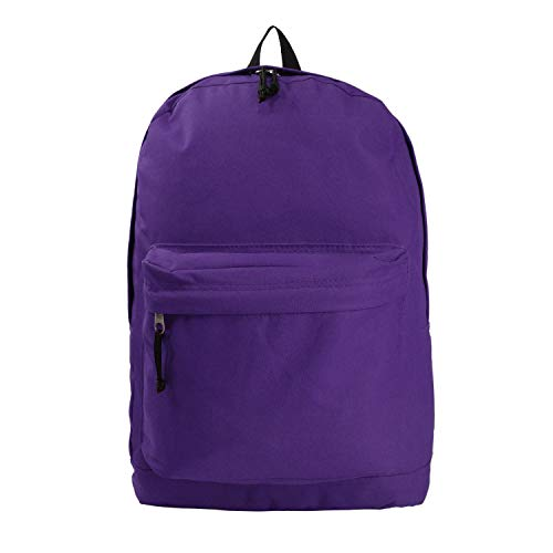 Classic Bookbag Basic Backpack Simple School Book Bag Casual Student Daily Daypack 18 Inch with Curved Shoulder Straps Purple
