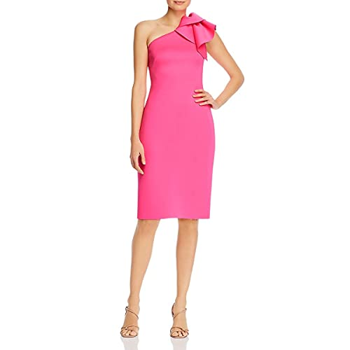 Eliza J Women's One Shoulder Scuba Cocktail Dress with Ruffle Sleeve Formal, Hot Pink, 12