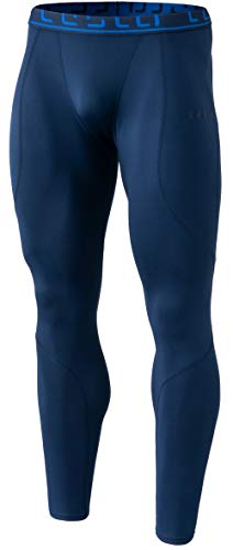 TSLA Men's Thermal Wintergear Compression Baselayer Pants Leggings Tights, Thermal Athletic(yup43) - Navy, Medium