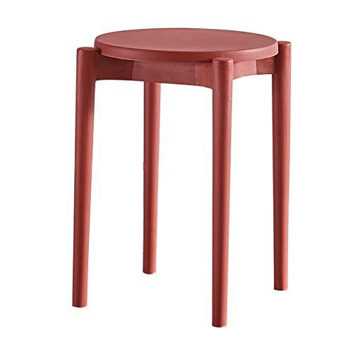 Multifunktionaler Hocker, dicker Schminktisch aus Kunststoff, Esstischhocker, stark tragend, geeignet für Arbeitszimmer, Wohnzimmer, Schlafzimmer, mit rutschfester Matte/rot / 47cm