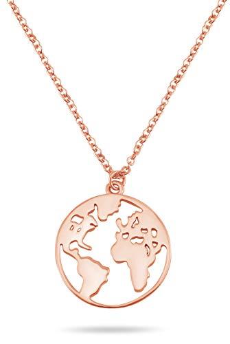 Nuoli® Damesketting met wereldbol, 45 cm, 925 sterling zilver, halsketting, verkrijgbaar in zilver, goud en roségoud