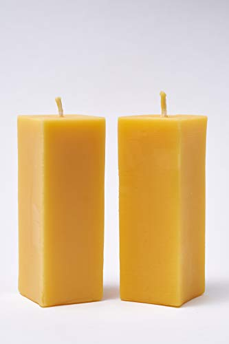 Imkerei Freese 2X 4-eckige Kerze (ca. 15cm x 5,5cm) aus 100% Bienenwachs vom Imker