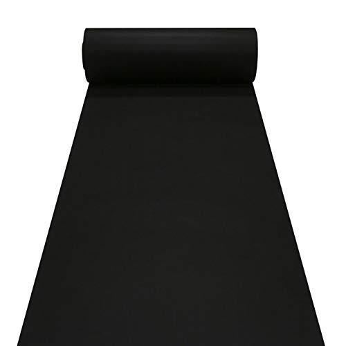Alfombra Negra Alfombras De Corredor Negro, Decoraciones De Bodas, Corredor De Pasillo De Poliéster De 2.2 Mm De Espesor Para La Boda De Fiesta De Fiesta, Corredor De(Size:1×20m(3×66ft),Color:negro)