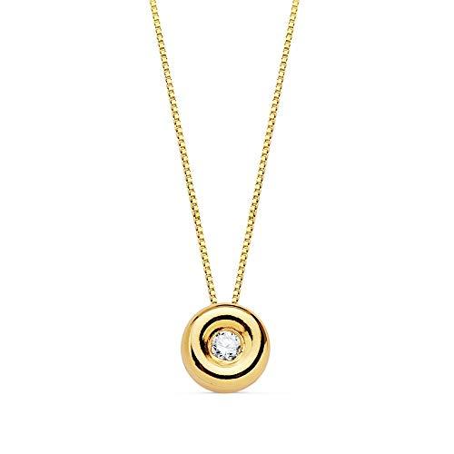 Gargantilla Oro 18K Cadena 42cm. Chatón 1.70mm. Diamante 0.020Ct.