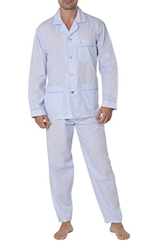 El Búho Nocturno - 2701 - Pijama Hombre Largo Premium Solapa Bambú Rayas - Azul Oscuro Pijamas Entretiempo 50% bambú 50% poliéster
