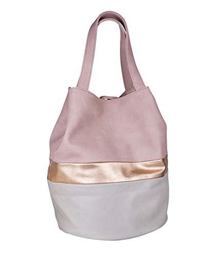 SIX Grand sac : style shopping, tons roses délicats avec détails métalliques scintillants, fermeture à bouton-pression, cuir vegan (726–767).