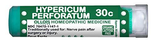 Ollois Organic Lactose-Free Homeopathic Medicines, Hypericum Perforatum 30C Pellets, 80 Count for Nerve Pain