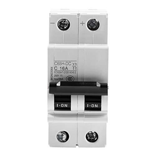 Interruttore automatico CC, 1pc 250V CC 2P Interruttore automatico in miniatura a bassa tensione Interruttore a energia solare 16A / 32A / 63A per sistema di rete a pannelli solari(16A)